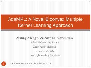 AdaMKL: A Novel Biconvex Multiple Kernel Learning Approach