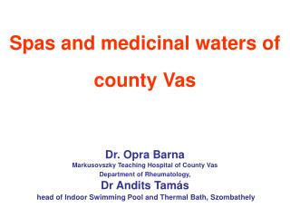 Spas and medicinal waters of county Vas