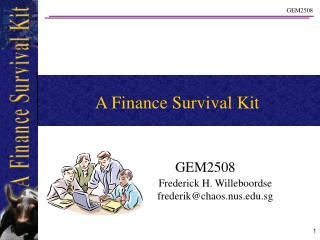 A Finance Survival Kit