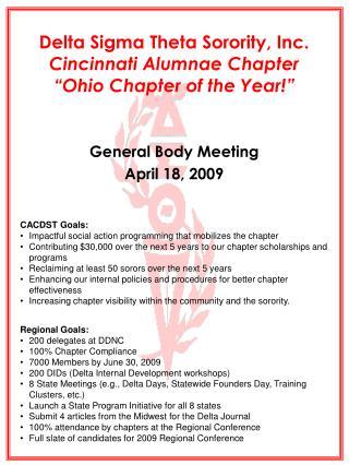 Delta Sigma Theta Sorority, Inc. Cincinnati Alumnae Chapter  Ohio Chapter of the Year