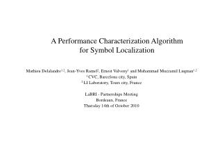 A Performance Characterization Algorithm for Symbol Localization