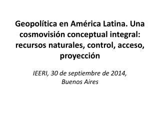IEERI, 30 de septiembre de 2014, Buenos Aires