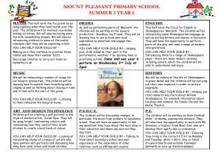 MOUNT PLEASANT PRIMARY SCHOOL SUMMER 2 YEAR 6