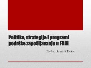 Politike, strategije i programi podrške zapošljavanju u FBiH
