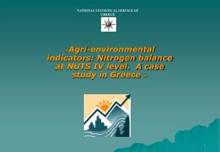 « Agri-environmental indicators: Nitrogen balance at NUTS IV level.  A case study in Greece  »