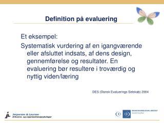 Definition på evaluering