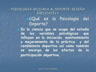 PSICOLOGIA APLICADA AL DEPORTE: RESE A EXPLICATIVA