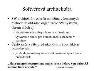 Softvérová architektúra