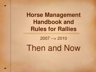 Horse Management Handbook and