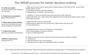 The WRAP process for better decision making