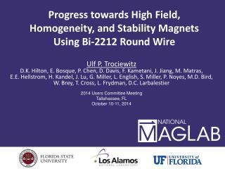 Progress towards High Field, Homogeneity, and Stability Magnets Using Bi-2212 Round Wire