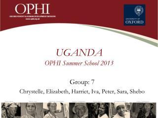 UGANDA OPHI Summer  School  2013