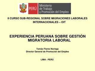 II CURSO SUB-REGIONAL SOBRE MIGRACIONES LABORALES INTERNACIONALES   OIT    EXPERIENCIA PERUANA SOBRE GESTI N MIGRATORIA