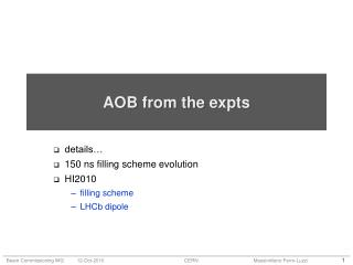 AOB from the  expts