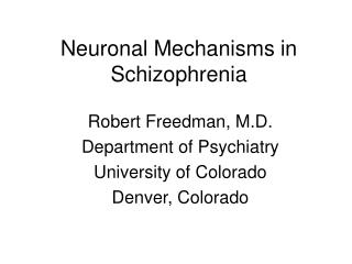 Neuronal Mechanisms in Schizophrenia