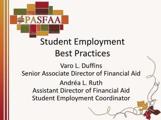 Student Employment  Best Practices