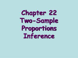 Chapter 22 Two-Sample Proportions Inference