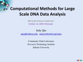 Computational Methods for Large Scale DNA Data Analysis