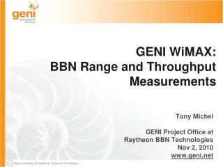 GENI WiMAX:  BBN Range and Throughput Measurements
