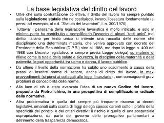 La base legislativa del diritto del lavoro