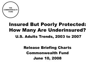 Insured But Poorly Protected: How Many Are Underinsured? U.S. Adults Trends, 2003 to 2007