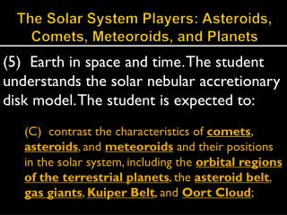 The Solar System Players: Asteroids, Comets, Meteoroids, and Planets