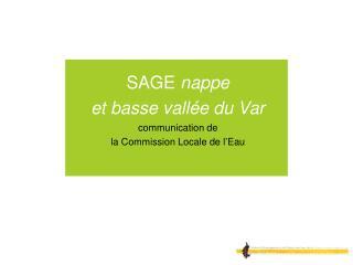 SAGE nappe  et basse vall e du Var communication de  la Commission Locale de l Eau