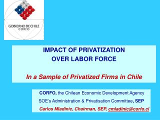 IMPACT OF PRIVATIZATION OVER LABOR FORCE In a Sample of Privatized Firms in Chile