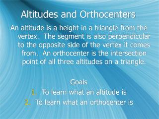 Altitudes and Orthocenters