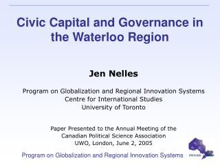 Civic Capital and Governance in the Waterloo Region
