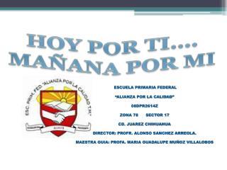"""ESCUELA PRIMARIA FEDERAL """"ALIANZA POR LA CALIDAD"""" 08DPR2614Z ZONA 78      SECTOR 17"""