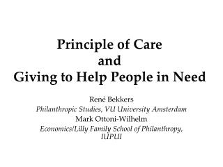 Principle of Care and  Giving to Help People in Need