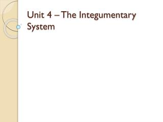 Unit 4 – The  Integumentary  System