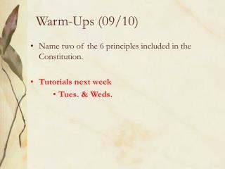 Warm-Ups (09/10)