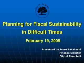 Planning for Fiscal Sustainability in Difficult Times February 19, 2009