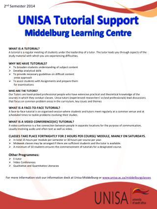 UNISA Tutorial Support   Middelburg Learning Centre