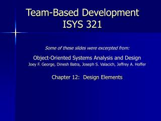 Team-Based Development ISYS 321