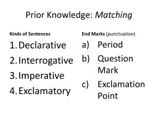 Prior Knowledge:  Matching