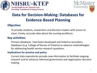 Data for Decision-Making: Databases for Evidence-Based Planning