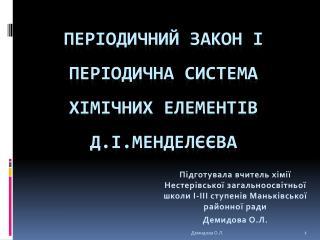 Періодичний закон і періодична система хімічних елементів Д.І.Менделєєва