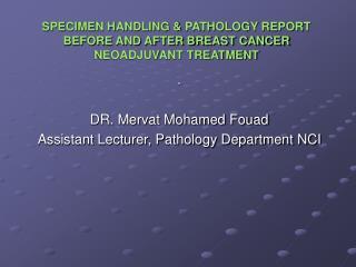 SPECIMEN HANDLING  PATHOLOGY REPORT BEFORE AND AFTER BREAST CANCER NEOADJUVANT TREATMENT