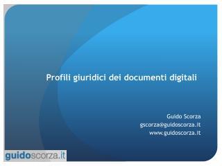 Profili giuridici dei documenti digitali