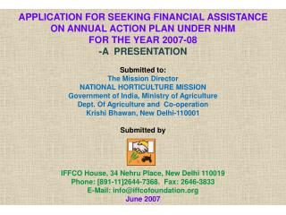 APPLICATION FOR SEEKING FINANCIAL ASSISTANCE  ON ANNUAL ACTION PLAN UNDER NHM