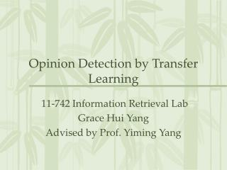 Opinion Detection by Transfer Learning