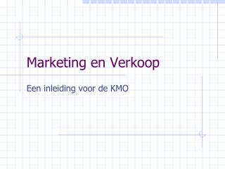Marketing en Verkoop