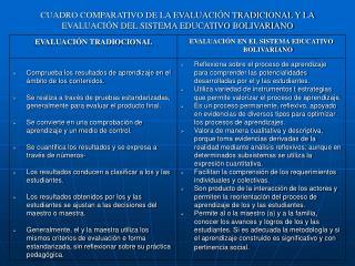 CUADRO COMPARATIVO DE LA EVALUACI N TRADICIONAL Y LA EVALUACI N DEL SISTEMA EDUCATIVO BOLIVARIANO
