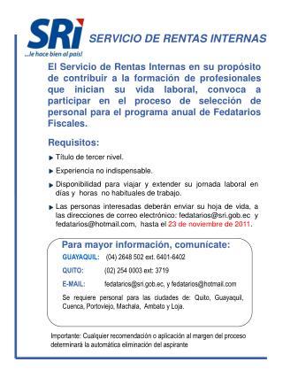 SERVICIO DE RENTAS INTERNAS