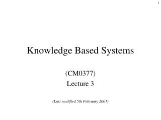 Knowledge Based Systems