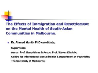Dr. Ahmed Munib, PhD candidate,  Supervisors:
