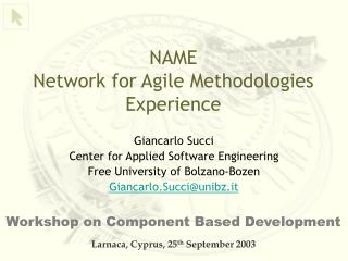 NAME  Network  for  Agile  Methodologies Experience